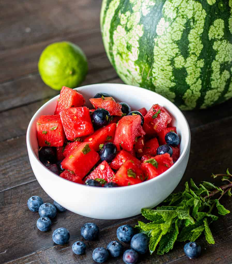 Watermelon Salad with blueberries and mint