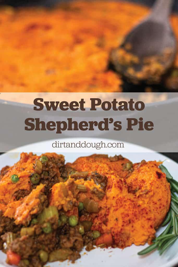 Sweet Potato Shepherds Pie in cast iron