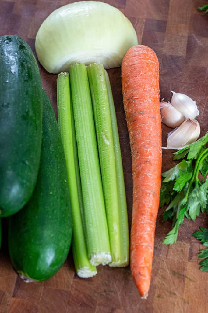 carrots zucchini onions and garlic
