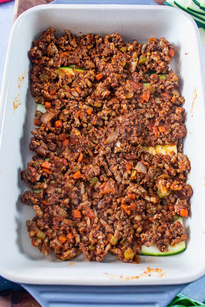 Zucchini and bolognese layers