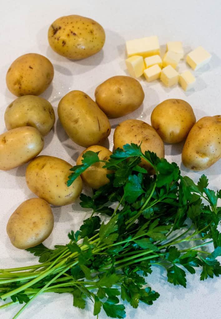 Yukon gold potatoes, fresh parsley and butter