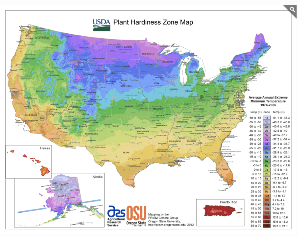 The Plant Hardiness Map from the United States Department of Agriculture